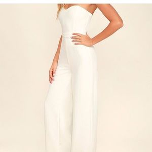 5cdcf89fa40 Lulu s Pants - Edith White strapless jumpsuit from lulu s
